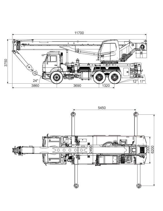 Габариты автокрана Ивановец 32 тонны
